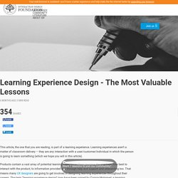 Learning Experience Design - The Most Valuable Lessons