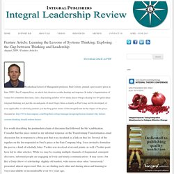Feature Article: Learning the Lessons of Systems Thinking: Exploring the Gap between Thinking and Leadership - Integral Leadership Review