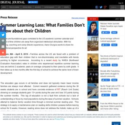 Summer Learning Loss: What Families Don't Know about their Children