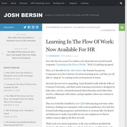 Learning In The Flow Of Work: Now Available For HR