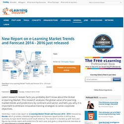 New Report on e-Learning Market Trends and Forecast 2014 - 2016 just released