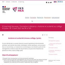 Formation à distance « Autisme et scolarité au collège et lycée » le 13 avril 2021 de 9h à 16h
