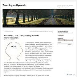 How People Learn – Using learning theory to inform instruction.