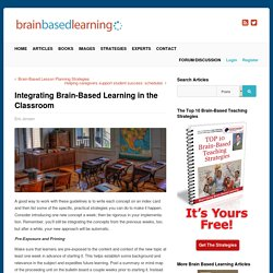 Integrating Brain-Based Learning in the Classroom - Brain Based Learning