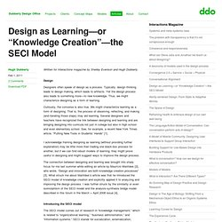 """Design as Learning—or """"Knowledge Creation""""—the SECI Model"""