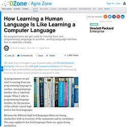 How Learning a Human Language Is Like Learning a Computer Language - DZone Agile