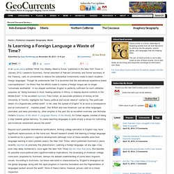 Is Learning a Foreign Language a Waste of Time? | GeoCurrents