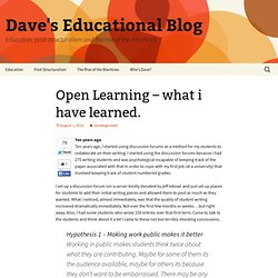 Open Learning – what i have learned.