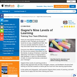 Gagne's Nine Levels of Learning - Management Training From Mind Tools