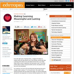 Making Learning Meaningful and Lasting