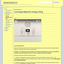 Learning Objective using a blog - Assessments