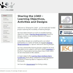 Sharing the LOAD - Learning Objectives, Activities and Designs