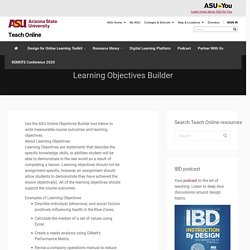 Instructional Objectives Builder