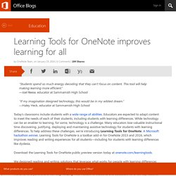 Learning Tools for OneNote improves learning for all