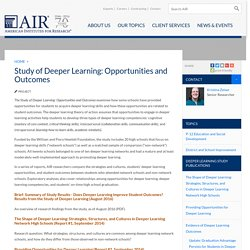 Study of Deeper Learning: Opportunities and Outcomes