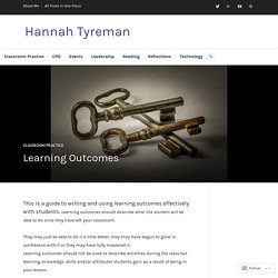 Learning Outcomes – Hannah Tyreman