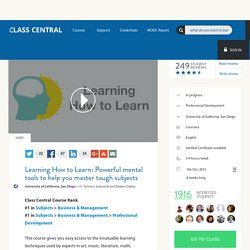 Learning How to Learn: Powerful mental tools to help you master tough subjects from Coursera