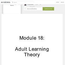 Model of Adult Learning Theory Process