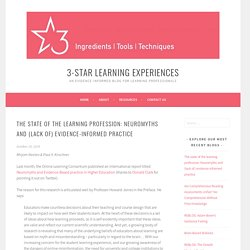 The state of the learning profession: Neuromyths and (lack of) evidence-informed practice