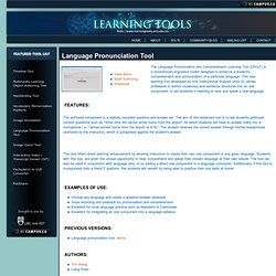 Learning Tools - Language Pronunciation Tool
