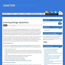 Learning Design Questions