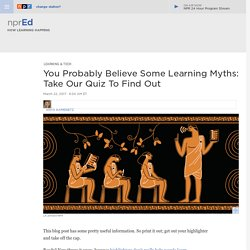 Learning Myths And Realities From Brain Science : NPR Ed