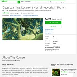 Deep Learning: Recurrent Neural Networks in Python