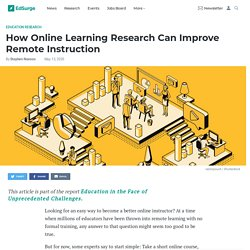 How Online Learning Research Can Improve Remote Instruction