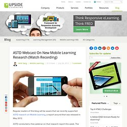 ASTD Webcast On New Mobile Learning Research (Watch Recording)