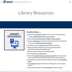 Remote Learning Resources - Library Resources