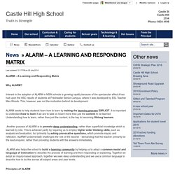 ALARM – A LEARNING AND RESPONDING MATRIX - Castle Hill High School
