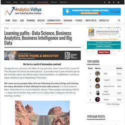 Learning Path - Data Science, Analytics, BI, Big Data