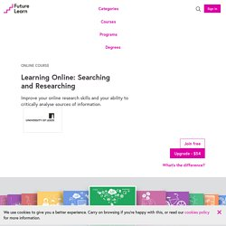 Learning Online: Searching and Researching - Free online course