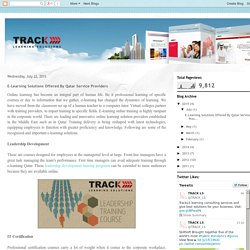 TrackLS : e-Learning Blog: E-Learning Solutions Offered By Qatar Service Providers
