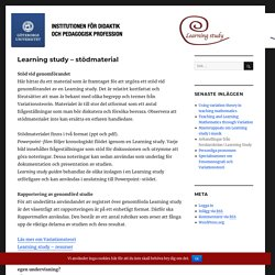 Learning study – stödmaterial – Learning study och Lesson study