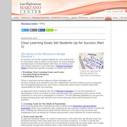 READING - Marzano - Clear Learning Goals