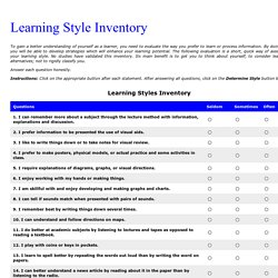 Pro úvodní hodinu - Learning Style Inventory