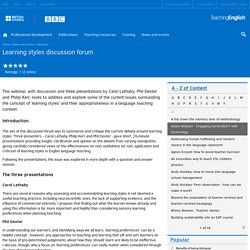 Learning styles discussion forum