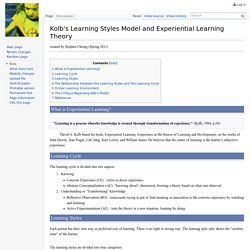 Kolb's Learning Styles Model and Experiential Learning Theory