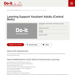 Learning Support Assistant Adults (Central Beds) - Do-It - Be More
