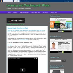 Learning and Teaching with iPads: Special Needs Apps for the iPad