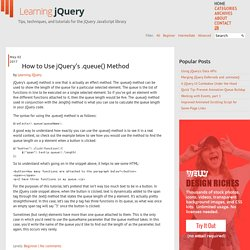 Learning jQuery - Tips, Techniques, Tutorials