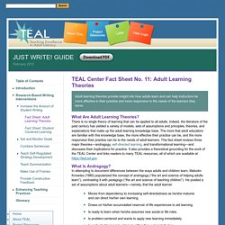 TEAL Center Fact Sheet No. 11: Adult Learning Theories