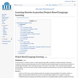Learning theories in practice/Project-Based Language Learning