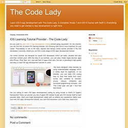 The Code Lady: IOS Learning Tutorial Provider - The Code Lady