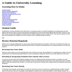 Learning How to Study - A Guide to University Learning