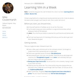 Learning Vim in a Week