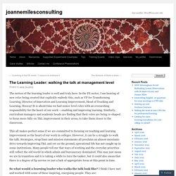 The Learning Leader: walking the talk at management level