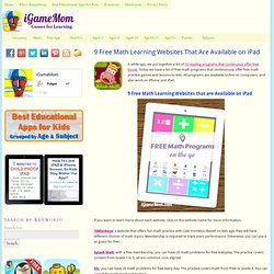 Math Learning Websites Available on iPad