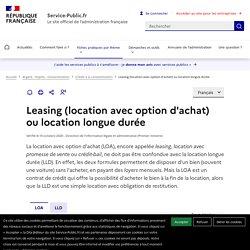Leasing (location avec option d'achat) ou location longue durée